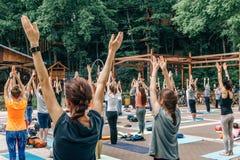 沃罗涅日,俄罗斯- 2017年6月18日:人在发电机公园做瑜伽在国际瑜伽天在沃罗涅日,俄罗斯 免版税库存照片