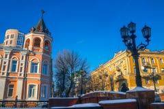 沃罗涅日- Aleksandrijisky儿童风雨棚和石头桥梁 库存图片