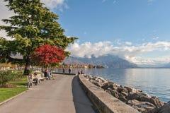 沃韦,瑞士- 2015年10月29日:沃韦和莱芒湖全景  库存图片