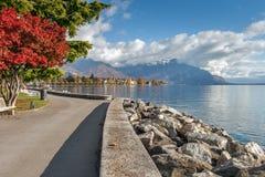 沃韦,瑞士- 2015年10月29日:沃韦和莱芒湖全景  库存照片