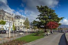 沃韦,瑞士- 2015年10月29日:堤防,沃韦,沃州小行政区风景  图库摄影