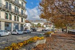 沃韦,瑞士- 2015年10月29日:堤防,沃韦,瑞士风景  免版税库存图片