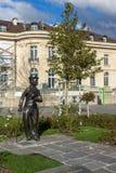 沃韦,瑞士- 2015年10月29日:查理・卓别林纪念碑在沃韦,沃州小行政区镇  库存照片