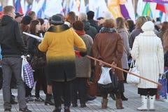 """沃洛格达州,俄罗斯†""""3月10日:克里米亚的示范俄罗斯团聚的2014年3月10日 免版税库存照片"""