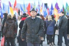 """沃洛格达州,俄罗斯†""""3月10日:克里米亚的示范俄罗斯团聚的2014年3月10日 库存图片"""