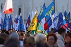 """沃洛格达州,俄罗斯†""""3月10日:克里米亚的示范俄罗斯团聚的2014年3月10日 库存照片"""