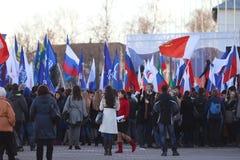 """沃洛格达州,俄罗斯†""""3月10日:克里米亚的示范俄罗斯团聚的2014年3月10日 图库摄影"""