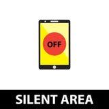 沈默区域,关闭电话 免版税库存照片