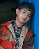 沉思亚裔的男孩 库存图片
