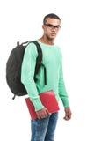 年轻沉思学生运载的袋子 免版税库存图片