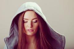 沉思少年女孩画象敞篷的 图库摄影