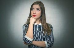 沉思渴望的妇女 女孩担心 免版税库存照片
