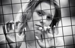 沉思纵向妇女年轻人 免版税库存照片