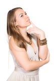 沉思纵向妇女年轻人 免版税库存图片