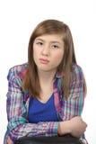 沉思美丽的十几岁的女孩 免版税库存照片