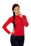 沉思美丽的年轻学生妇女 免版税库存图片