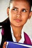 沉思逗人喜爱的青少年的女生 免版税库存图片