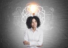 沉思非裔美国人的女实业家脑子,想法 库存图片