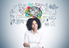 沉思非裔美国人的女实业家,嵌齿轮脑子 免版税库存图片