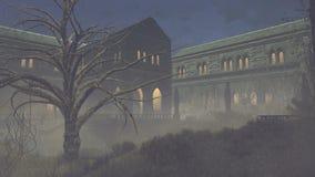 阴沉的中世纪豪宅在晚上 向量例证