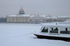 阴沉的冬日在圣彼德堡 免版税库存图片