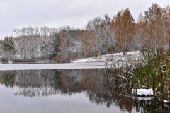 阴沉的冷的10月天在秋天公园 免版税库存照片