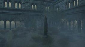 阴沉的被放弃的豪宅在有薄雾的晚上 股票视频