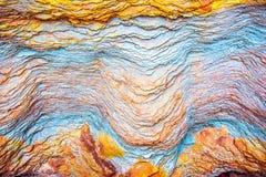"""沉积â€的储积形成的五颜六色的水成岩""""自然岩石层数背景、样式和纹理- 免版税库存照片"""