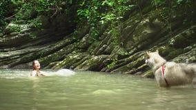 沐浴在小湖的年轻逗人喜爱的妇女在有狗的绿色热带森林里 影视素材