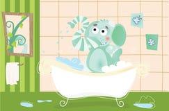 沐浴大象的婴孩 库存例证