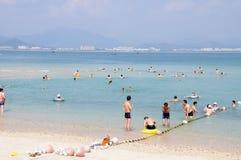 沐浴安排的海滩在萨尼亚 免版税库存照片