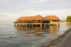 沐浴木小屋, Rorschach,瑞士的公众 免版税库存照片