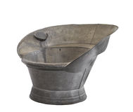 沐浴被刺激的查出的老坐罐子木盆 库存图片