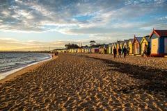 沐浴在布赖顿海滩的箱子,墨尔本 免版税库存图片