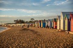 沐浴在布赖顿海滩的箱子,墨尔本 免版税库存照片