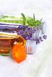 沐浴油,金盏草,淡紫色,蜜蜂花 库存图片