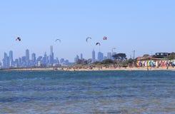 沐浴箱子澳大利亚的墨尔本海滩 免版税库存图片