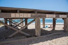 沐浴者` s海滩平台 免版税库存照片