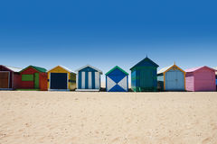 沐浴配件箱的澳大利亚在布赖顿海滩 免版税库存图片