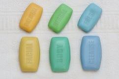 沐浴集合04被标记的肥皂 免版税库存照片