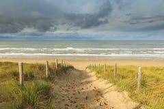 沙丘、海滩和海 免版税库存照片