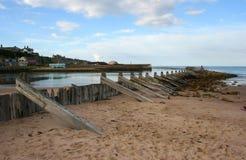 沙丘保护在一个海滩测量在苏格兰 免版税库存图片