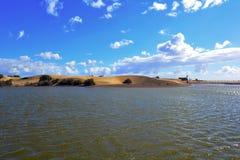 沙丘在沙漠和在海, Maspalomas,大加那利岛,西班牙附近 库存照片