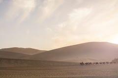 沙丘在Mingsha的单,敦煌,甘肃沙漠 免版税库存照片