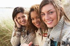 沙丘女孩铺沙坐三个年轻人 库存图片