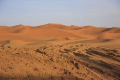 沙丘尔格Chebbi,撒哈拉大沙漠 库存图片