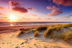 沙丘沙子海边日落 库存照片