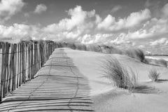 沙丘风景和篱芭在黑白 免版税图库摄影