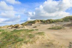 沙丘风景荷兰人与倾斜的北海海岸与沙丘草和光秃的谷 免版税库存图片