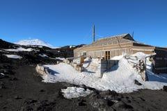 沙克尔顿的猎人小屋,海角Royds,南极洲 免版税图库摄影